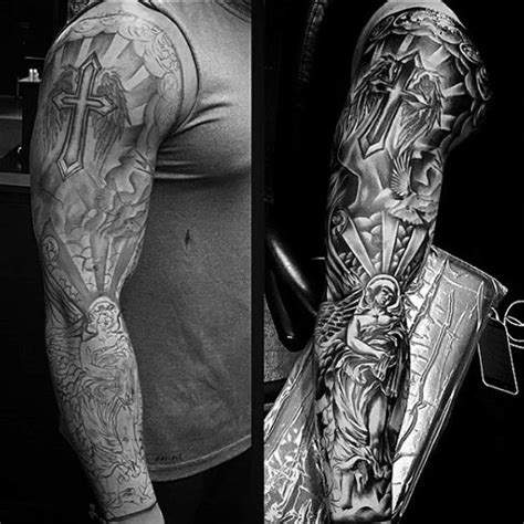 religious sleeve tattoos for men 75 religious sleeve tattoos for spirit designs
