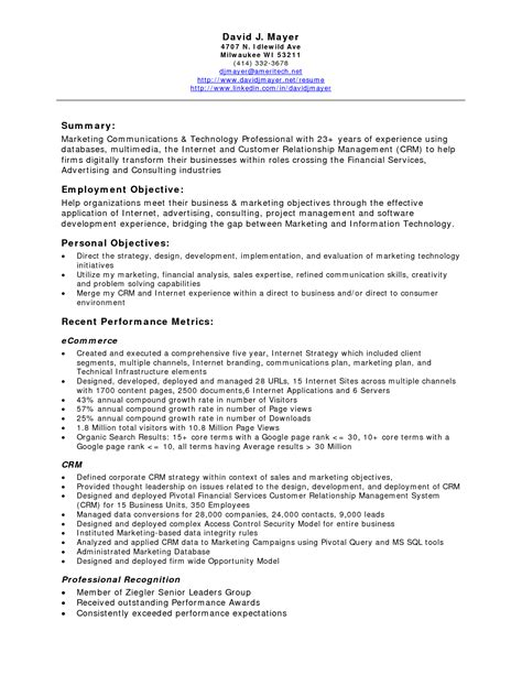 Resume Career Objective Marketing Resume Objective For Marketing Communications Sidemcicek