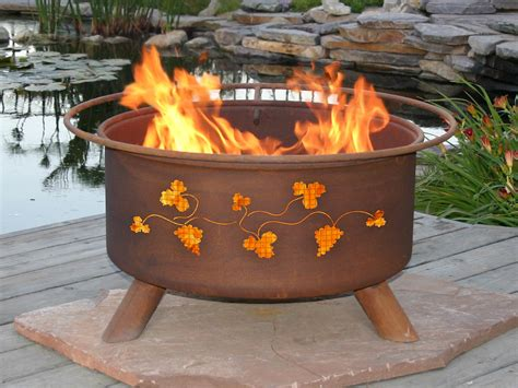 the firepit patina products grapevines design outdoor wood burning pit f111