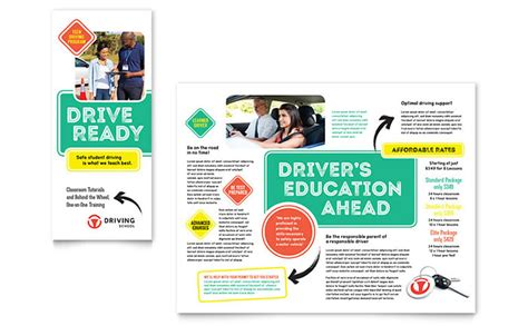 brochure templates drive driving school brochure template design