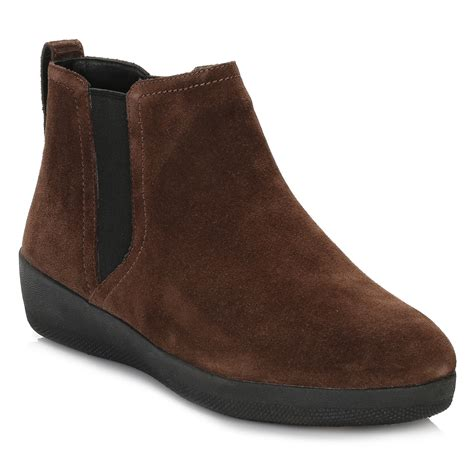 fitflop womens brown chelsea boots suede ankle shoes ebay