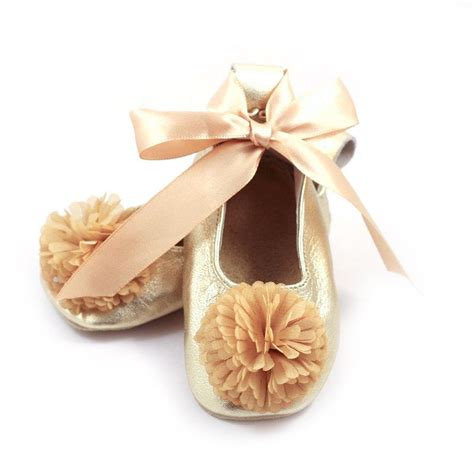 ballet flower shoes gold ballet flats flower shoes baby wedding shoes