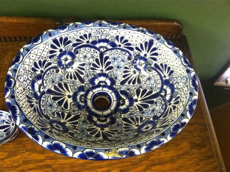 Handmade Mexican Pottery - mexican talavera pottery oval sink basin blue white