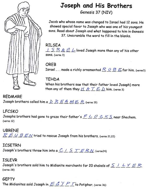 Joe And Worksheets by Joseph And His Brothers Bible Activity Worksheets