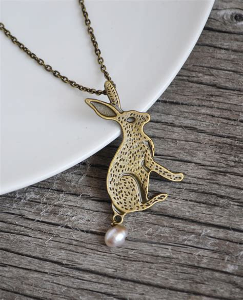 bunny necklace rabbit jewelry rabbit necklace pearl