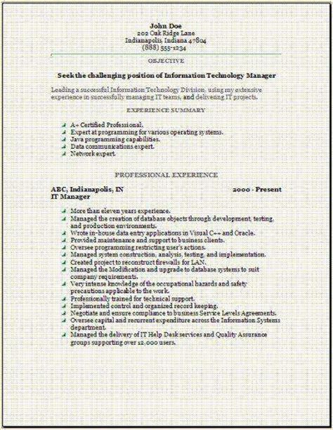 Resume Cover Letter Exles Information Technology Information Technology Resume Occupational Exles Sles Free Edit With Word