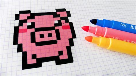 Handmade Minecraft - handmade pixel how to draw kawaii pig pixelart