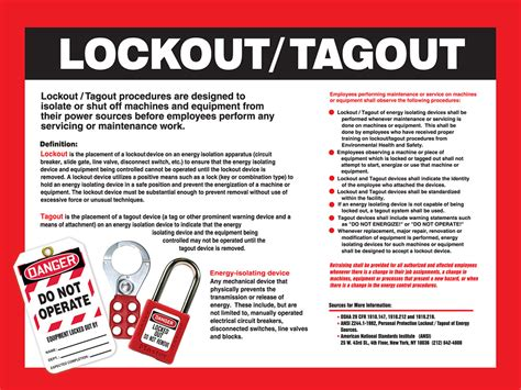 Lockout Tagout Awareness Poster Osha Electrical Safety Program Template