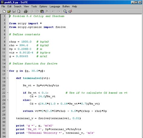 coding last solution terminal velocity of falling particles programming