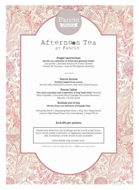 afternoon tea menu template 47 best images about tea room menus on high