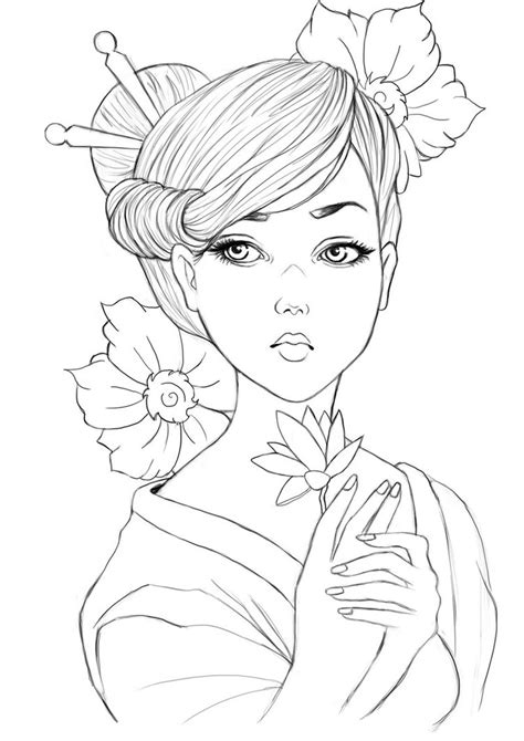 The Gallery For Gt Geisha Drawing Geisha Coloring Pages