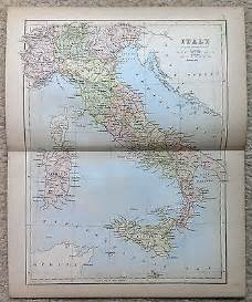 Antique map of italy by j bartholomew 1877 usd 20 00 end date
