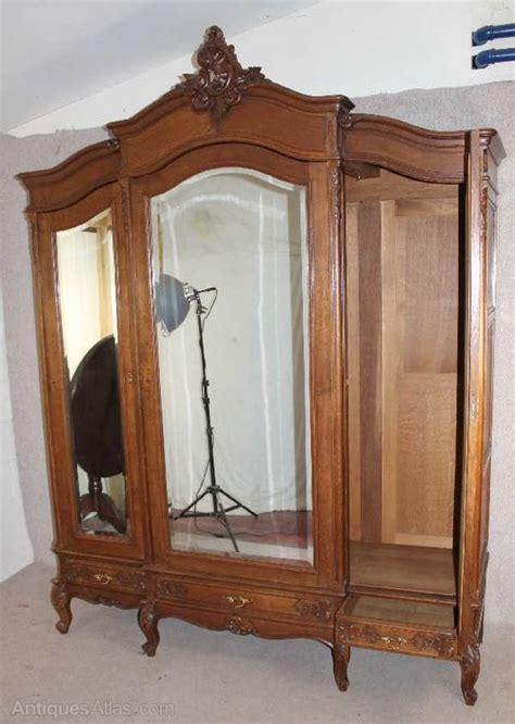 3 door antique armoire antiques atlas oak 1940 s french 3 door mirrored armoire