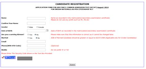candidate section afcat how to apply for afcat 2 2014