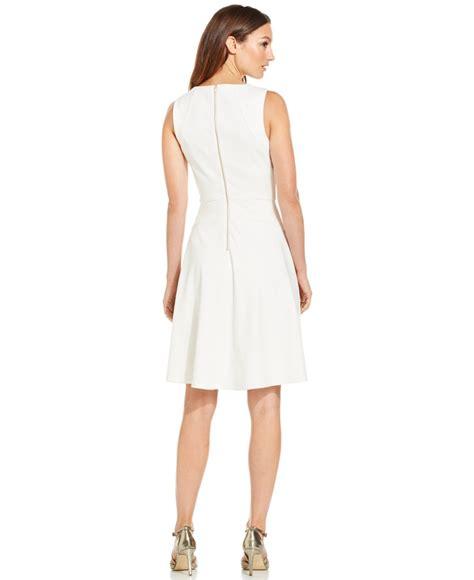 Ck Calvin Klein Sleevlees Dress lyst calvin klein sleeveless fit flare dress in white