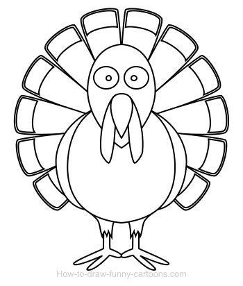 basic turkey coloring page drawing a turkey cartoon