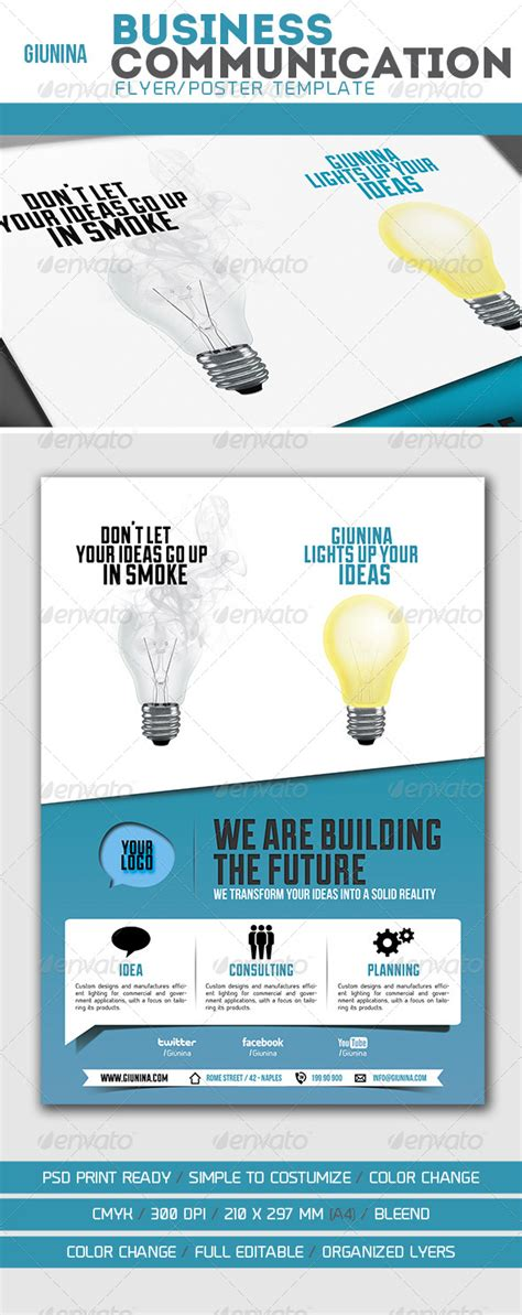 Business Communication Flyer Poster Graphicriver Communication And Visibility Plan Template