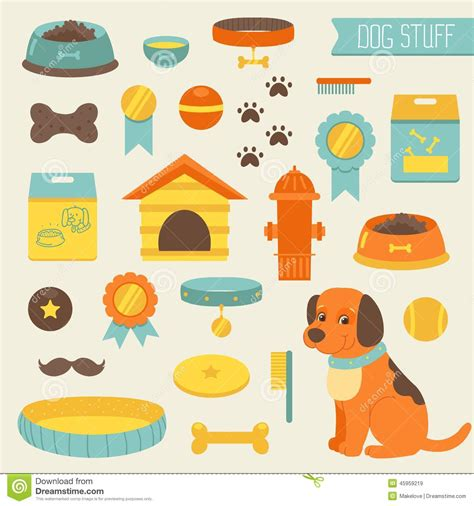 puppy stuff stuff collection toys food doghouse stock vector image 45959219