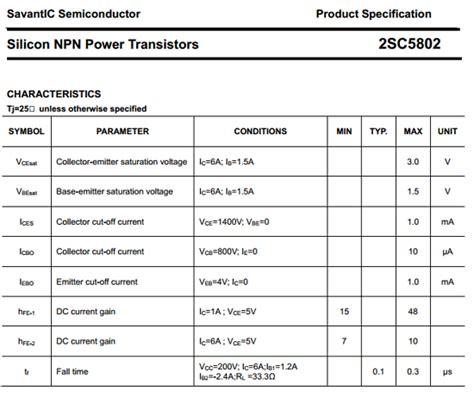 transistor horizontal c5802 c5802 datasheet pdf c5802 datasheet datasheetbank