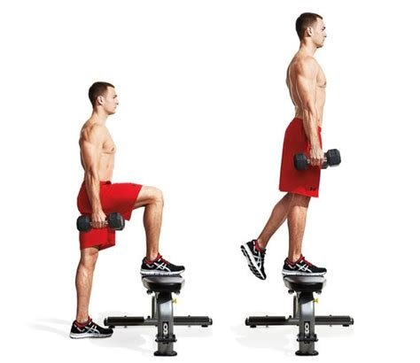 bench step up exercise dumbbell step up stand behind a bench or other elevated