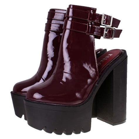 high heel buckle boots burgundy patent high heel buckle ankle boots