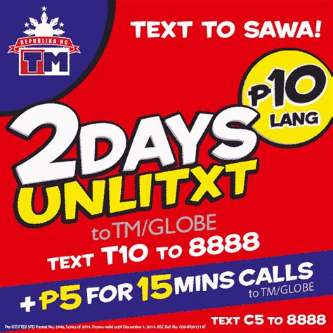 Promo T For 2 by T10 2 Days Unlimited Text To Globe And Tm For Only 10