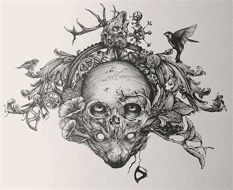 nature infused skull portraits biofusion