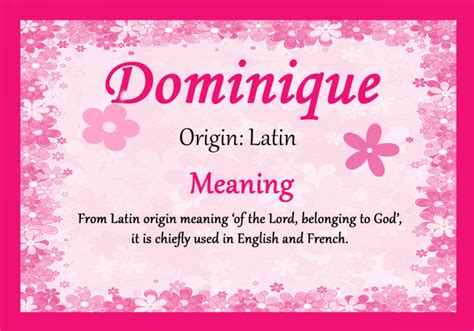 origin of the dominique name meaning certificate