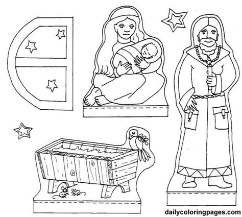 free printable nativity diorama free things start with m coloring pages