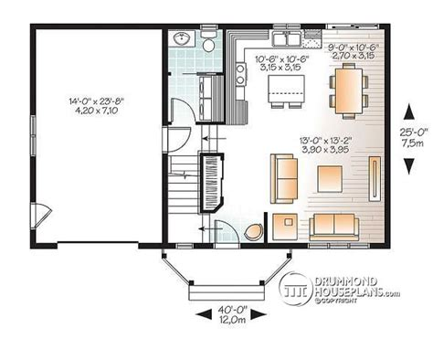 small house floor plans with garage house plan w3439 v1 detail from drummondhouseplans com