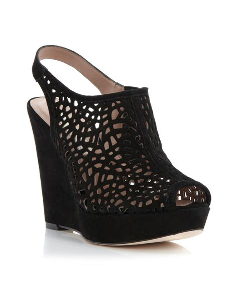 Sendal Wedges Lasser pied a terre lalasa laser cut wedge sandals in black black suede lyst