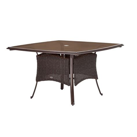 Martha Stewart Patio Table Martha Stewart Living Cedar Island 51 In Sq All Weather Wicker Patio Dining Table Dy4035 T5