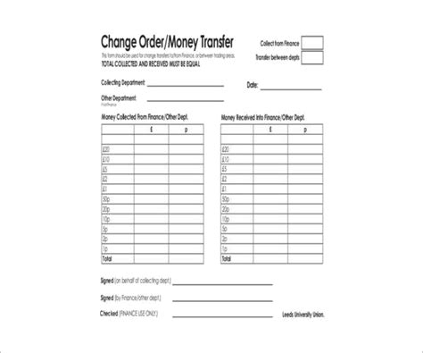 money order forms    formats