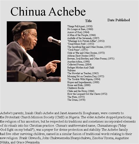 Chinua Achebe Essay by Archives Dexpriority