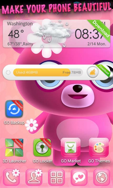 themes cute for android cute pink go launcher theme free android app android