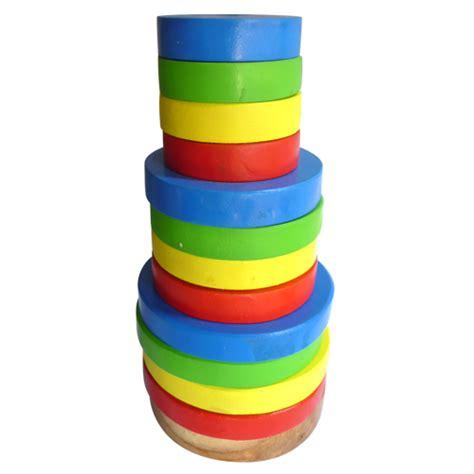 Bulat Runcing Pelangi menara pelangi bulat mainan kayu