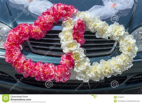 Wedding Car Decoration In The Form Of Hearts Royalty Free