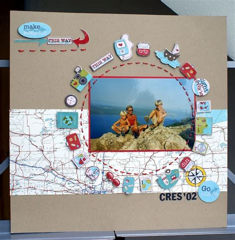 scrapbook layout maps love the map paper and circle of embellishments lovely