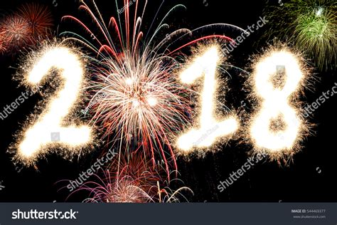 glowing 2018 happy new year 3d rendering happy new year fireworks stock photo