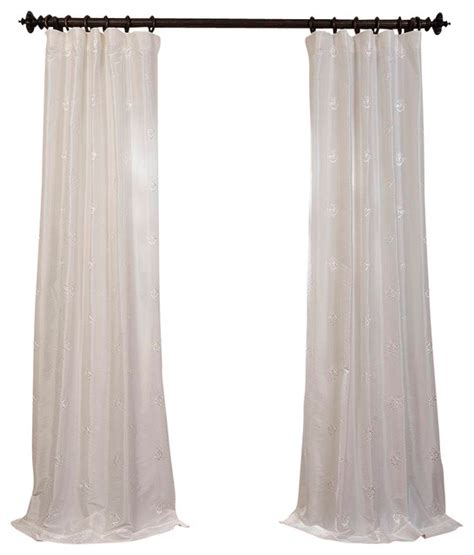 white taffeta drapes trophy white embroidered faux silk taffeta curtain single