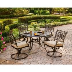 Patio Table And Chair Sets Hanover Traditions 5 Patio Outdoor Dining Set With 4 Cushioned Swivel Chairs And 48 In