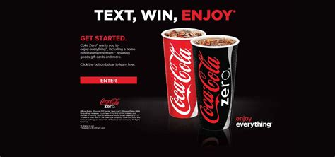 Sweepstakes Text To Win - cokezeroenjoyeverything com coke zero enjoy everything text to win promotion