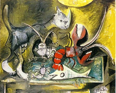 copy cat painting still with cat and lobster 1962 by pablo picasso