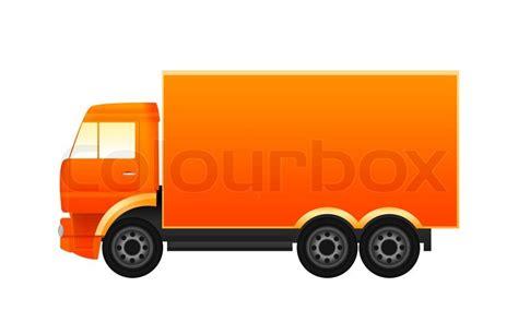 truck icon in orange colors stock photo colourbox