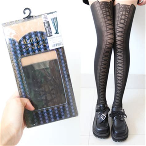 tattoo stockings singapore knee high boots lace up tattoo tights stockings on luulla