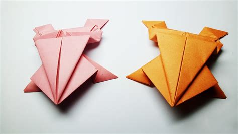 Origami Frog That Jumps - how to make a paper frog easy origami frog that jumps