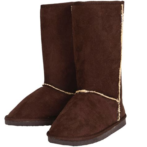 ego boots ego snugg brown faux sheepskin flat boots