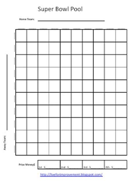 2015 super bowl 50 squares pool template new calendar