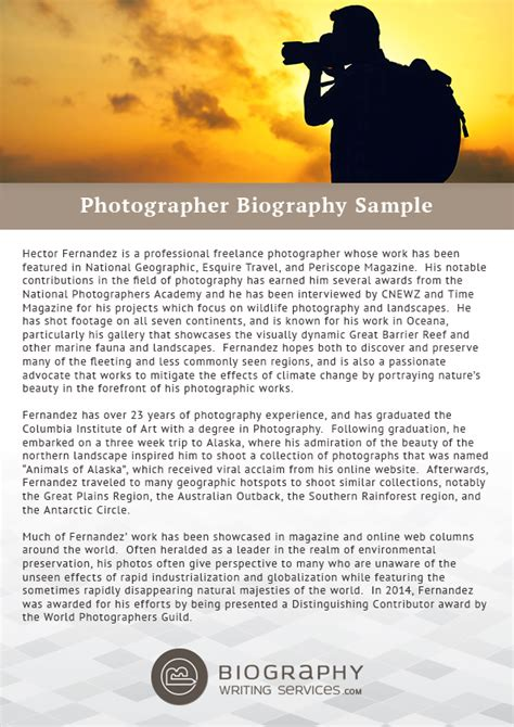 photography bio template how to create photographer biography