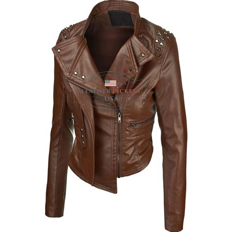 ladies brown leather biker brown rider faux leather jacket for women leather